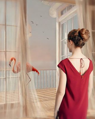 digitalart photomanipulation flamingo surrealism collage