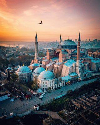 turkey travel sunset seagull mosque istanbul hagiasophia fromwhereidrone djiglobal borderlesscollective