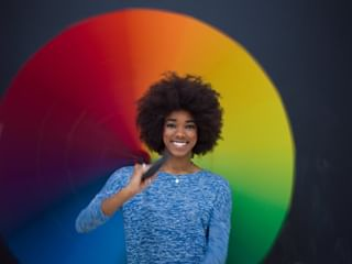 concept fun rainbow happy weather shutterstockcontributors beauty hasselblad rain hairstyles woman shutterstock portrait africanamerican shutterstockcontributor umbrella studio longexposure fashion h6d100c afro