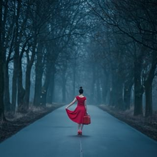 trees bye photography photo goodbye dress reddress road woman journey fineartphotography conceptualphotography creativephotography