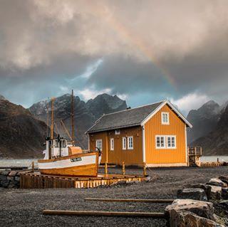 norway rainbow norwegia sakrisoy polishgirl szczecin rainydays photography girlswhotravel holidays reine october poland lofoten scandinavia travel