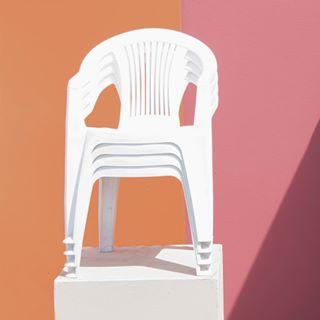 pink art lines photooftheday artdirection composition scenario white orange chair