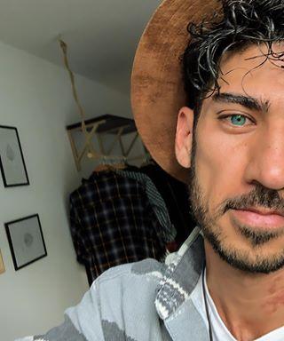 model blackhairs blueeyesboy fashion selfi persianboy hat