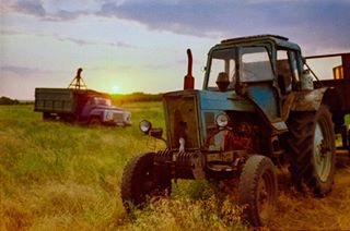 serenity 50mm fm 35mm kodak kodakgold200 naturallight goldenhour nofilter tractor filmphotography comparison nikon analog sunset