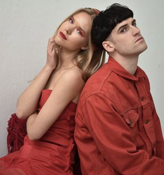 fashion makeup beauty romantic knitwear photography editorial red portrait female fashionphotography blonde designer romanticism love male couple models