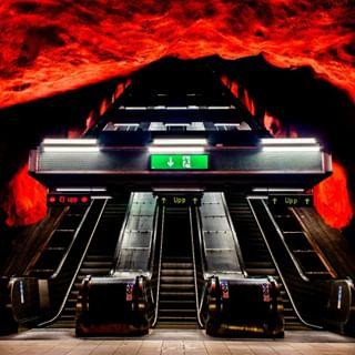 sweden artwork canon urlaub travel station schweden red summer stockholm holiday art reisen metro