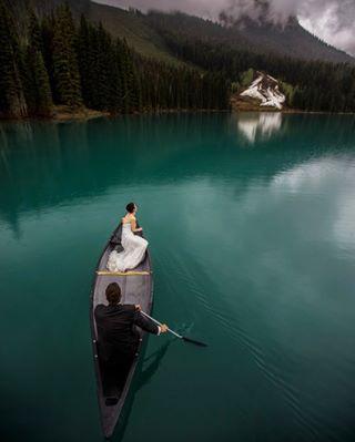 canon wedding photooftheday beautiful emeraldlake inspiration weddingdress canoe brides