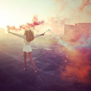 blue colorsmoke summer hotpants running model blondehair rooftop sunset colorful smokinhot smoke chiara philippnemenz red