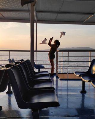 pastafloramag natgeo nofilter blue sky sunset photooftheday photography greecestagram travelgram travel greekislands somewheremagazine seagull sea boat thewaybackhome wanderlust wanderer