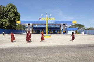 gasstation roadtrip famousenergy burma monks myanmar