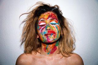 model beautifull rainbow colour colourfull photoshop creative art portrait photoshoot photographer facepaint photo photography xannie