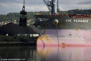 cargo seine river coal massive huge ship transport